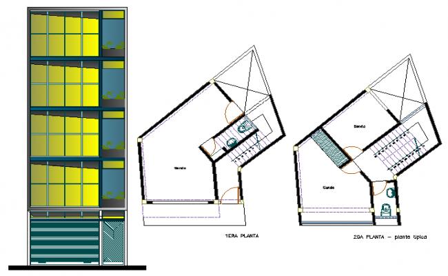 Multi-flooring office building elevation, sanitary installation of two floors dwg file