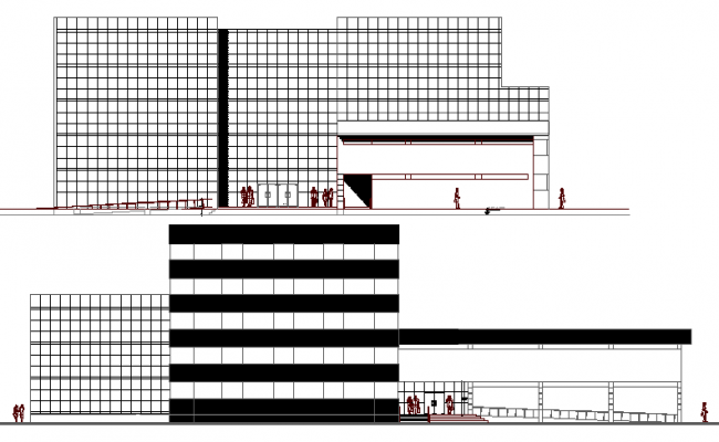 Multi-flooring office building front and back elevation details dwg file