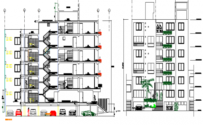Multi-flooring residential apartment building elevation and section details dwg file