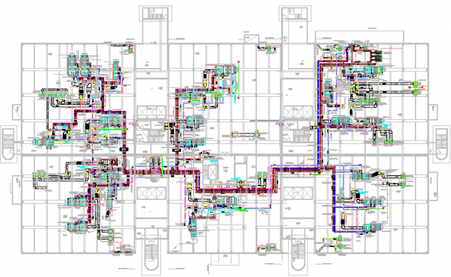 Multi-flooring residential apartment floor plan details dwg file
