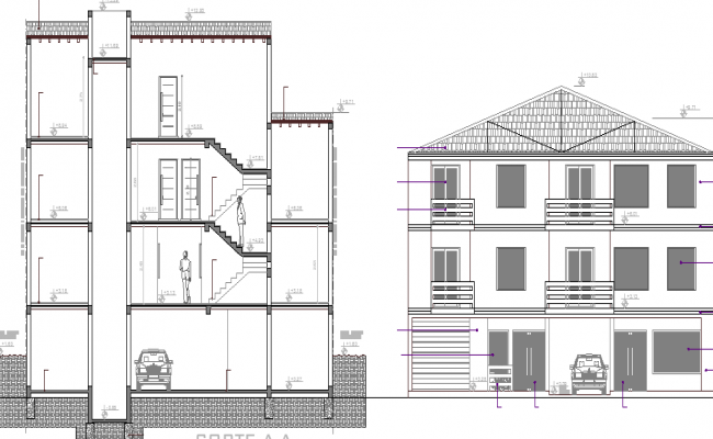 Front Elevation Of Residential Building In Autocad : Multi flooring residential building elevation and section