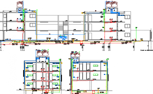 Multi-flooring residential building sectional view dwg file