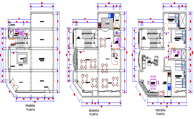 Multi-flooring residential bungalow floor plan details dwg file
