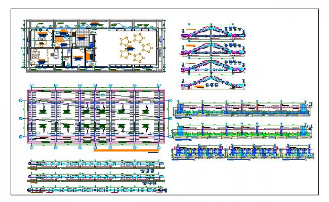 Multi-flooring school building architecture project dwg file