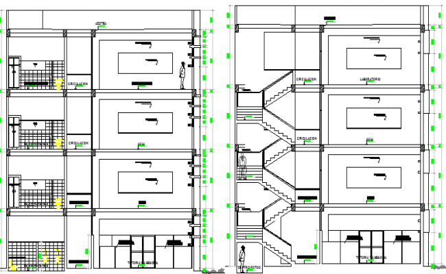 Multi-flooring school design and section plan dwg file