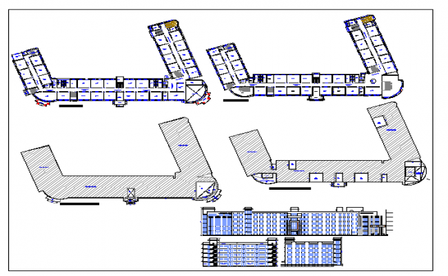 Multi-flooring school elevation and floor plan details dwg file
