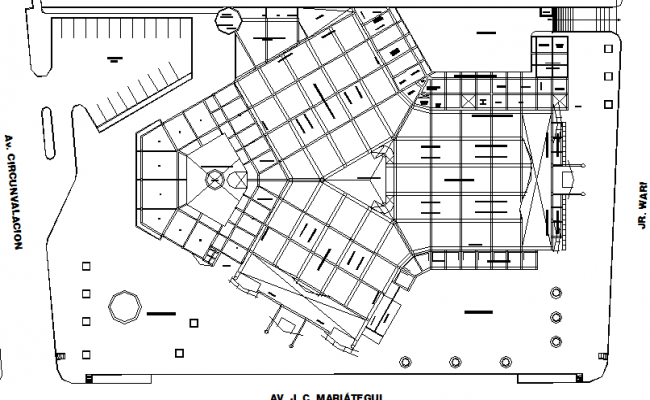 Multi-flooring shopping mall structural layout details dwg file