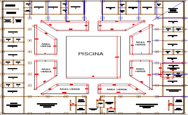 Multi-flooring tourist hotel architecture layout plan dwg file