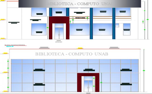 Multi-flooring virtual library main elevation details dwg file