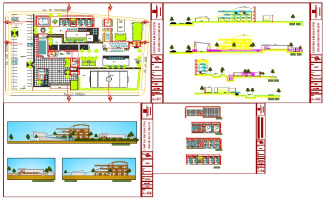 Multi functional building design drawing
