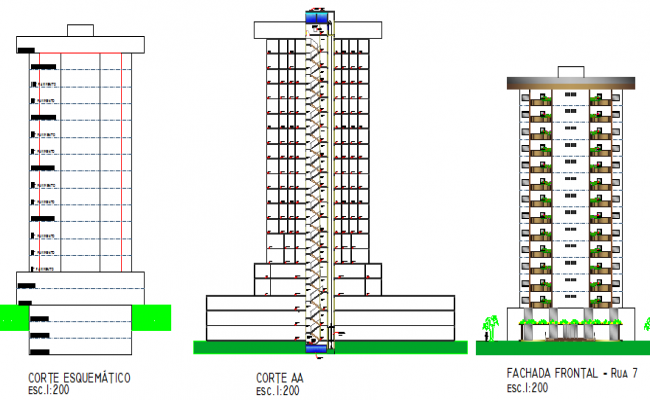 Multi-functional building elevation and sectional details dwg file