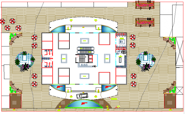 Multi-functional building floor plan layout details dwg file