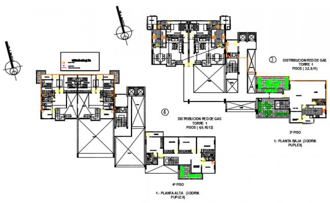 Multi functional building plan detail dwg file