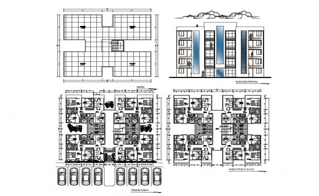Multi-housing four levels elevation, section and floor plan details dwg file