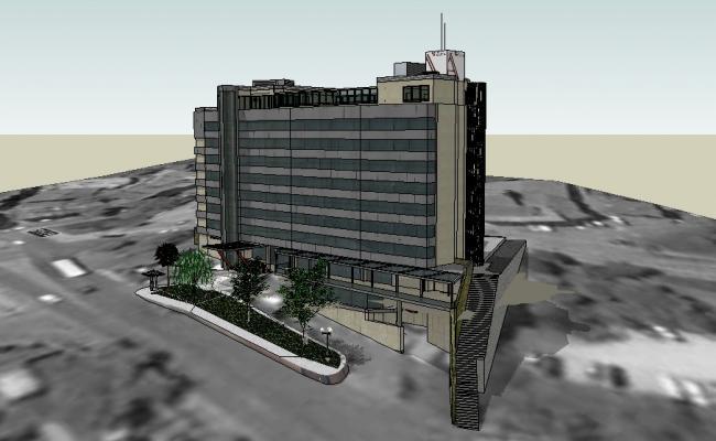 Multi-level Anatolia building exterior 3d model cad drawing details skp file