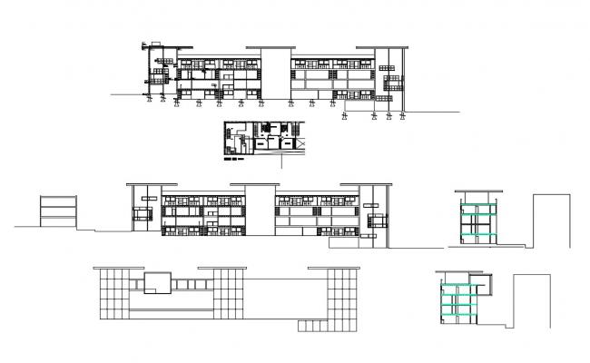 Multi-level apartment building all sided elevation and section details dwg file