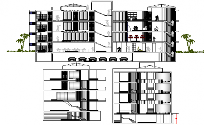 Multi-level city shopping mall elevation and sectional details dwg file
