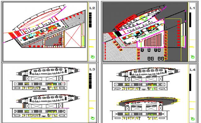 Multi-level corporate building floor plan layout details dwg file