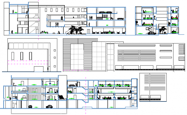 Multi-level cosmetology center elevation and sectional details dwg file