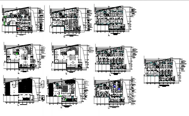 Multi-level hospital building floor plan and cover plan details dwg file