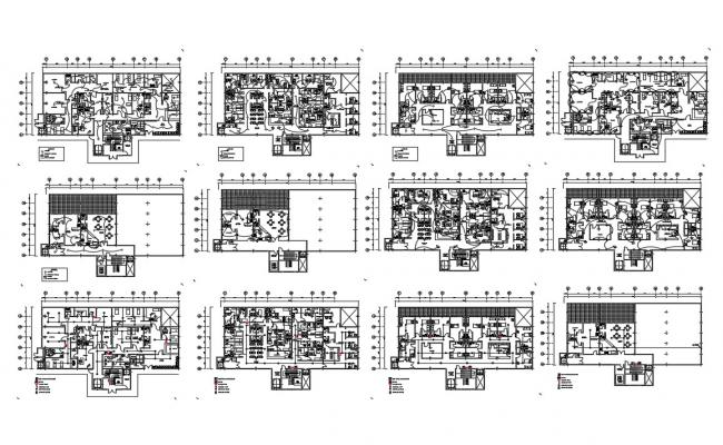 Multi-level hospital floor plan and electrical layout plan details dwg file