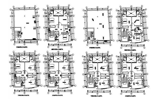 Multi-level hostel villa all floors plan layout details dwg file