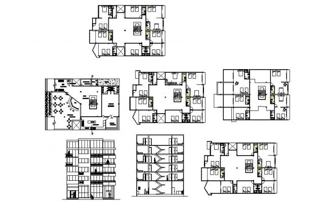 Multi-level hotel building elevation, section and floor plan cad drawing details dwg file