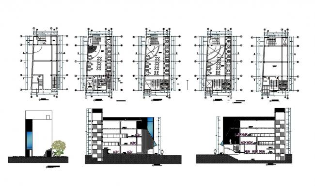 Multi-level luxuries hotel elevation, section and floor plan details dwg file