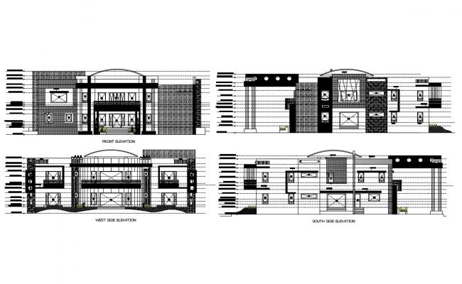 Multi-level multi-housing building all sided elevation cad drawing details dwg file