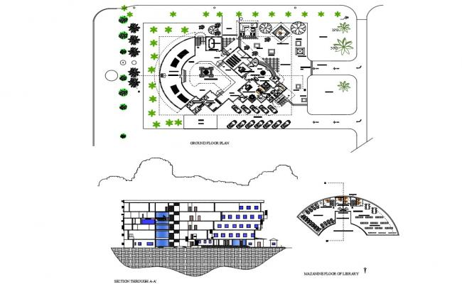 Multi-level school building main section, ground floor plan and mezzanine floor of library details dwg file