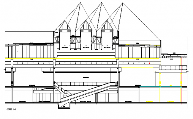 Multi-level shopping center main elevation view dwg file