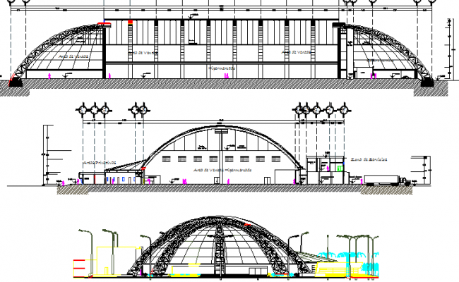 Multi-level shopping mall elevation and sectional view dwg file