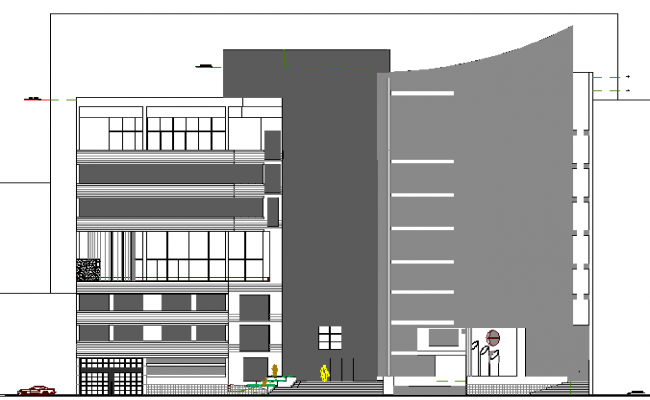Multi-level shopping mall main elevation details dwg file