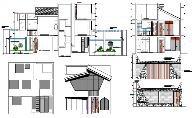 Multi-level single family house elevation and section plan dwg file