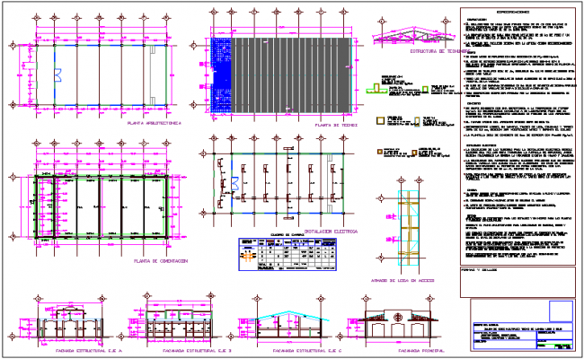 Multi pal use hall architectural plan,foundation plan,structural plan and electrical installation view dwg file