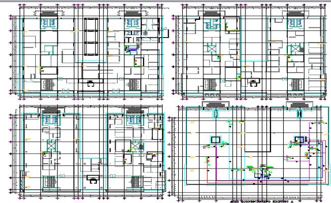 Multi-purpose apartment building floor plan details dwg file