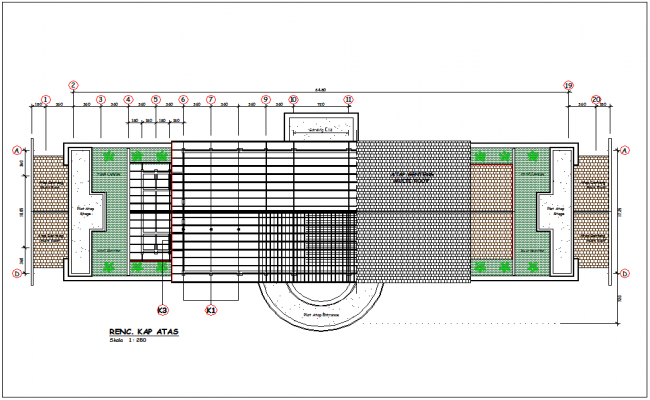 Multi roof plan with construction view for office area dwg file