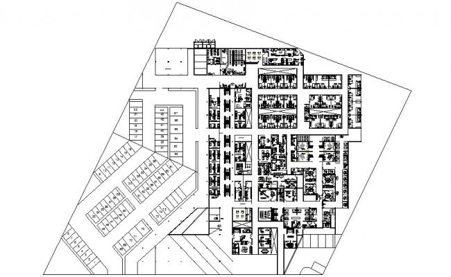 Multi-specialist hospital plotting and distribution plan cad drawing details dwg file