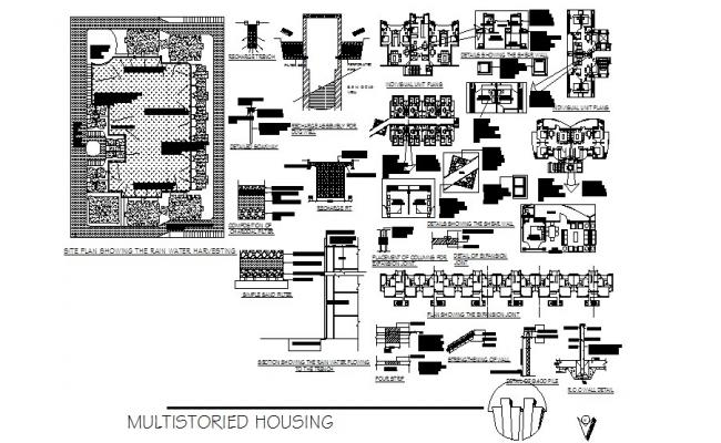 Multi-storied housing flats distribution plan, floor plan and auto-cad details dwg file