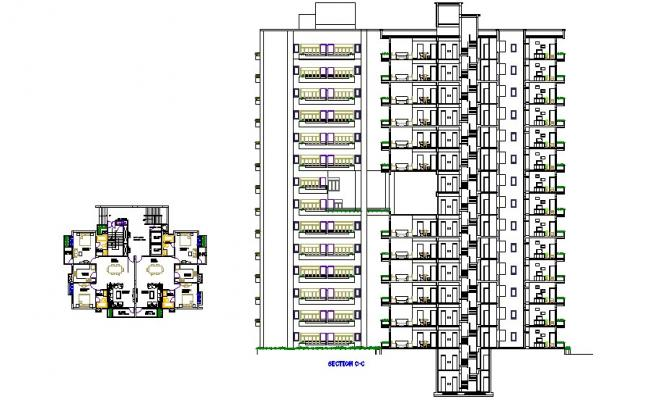 Multi-story apartment building main section and plan details dwg file