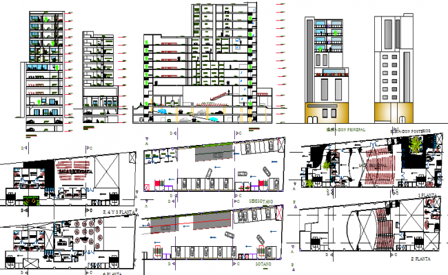 Multi-story bank head office building architecture project dwg file