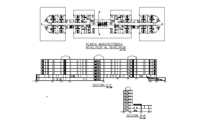 Multi-story civil hospital facade and back section and first floor plan details dwg file
