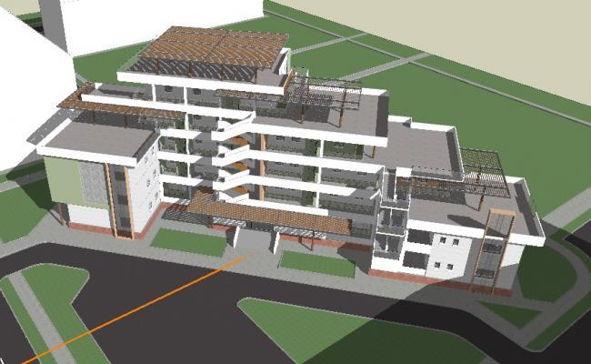 Multi-story commercial complex 3d building cad drawing details skp file