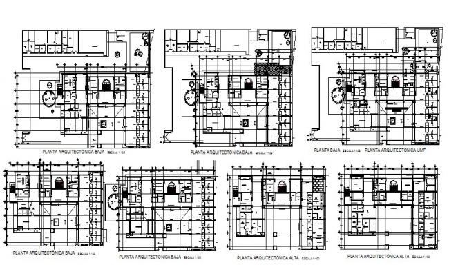 Multi-story hospital building floor plan cad drawing details dwg file