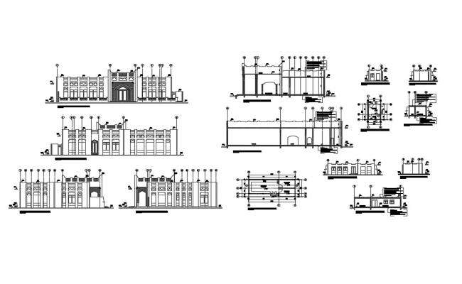 Multi-story house building elevation, section and plan details dwg file