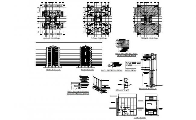 Multi-story housing flats detailed architecture project dwg file
