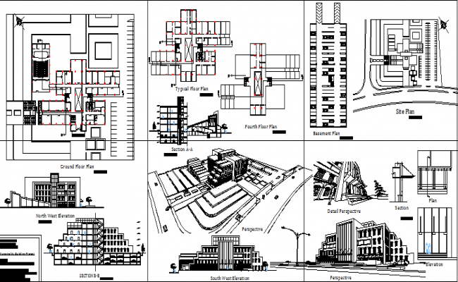 Multi-story municipality building auto-cad details dwg file