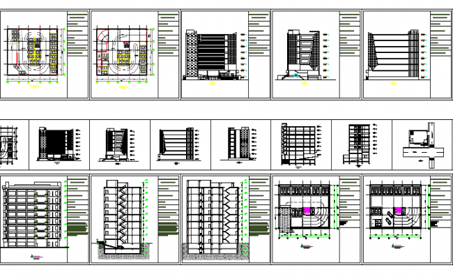 Multi-story office building architecture project dwg file