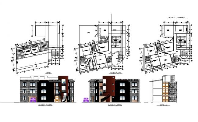 Multi-story residential building elevation, section and floor plan details dwg file