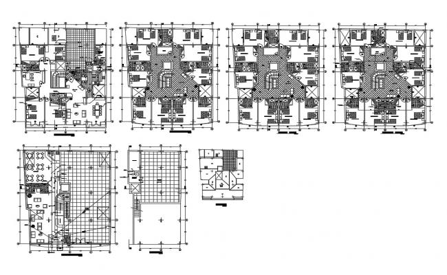 Multi-story residential building floor plan cad drawing details dwg file